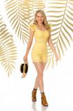 Pantalon scurt PrettyGirl galben casual mulat cu talie inalta din bumbac neelastic