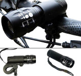 Far bicicleta, cu led si lupa, functie zoom in / zoom out, lanterna