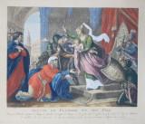 JEANNE DE FLANDRE ET SON FILS , GRAVURA PE METAL COLORATA MANUAL de A. SUNTACH, SECOLUL XVIII