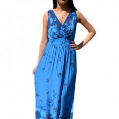 Rochie lunga de vara , albastra cu decolteu in V si fara maneca