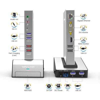 Docking Station Laptop Universal USB 3.0/HDMI/VGA/DVI/Gigabit/HDD&SSD Enclosure foto