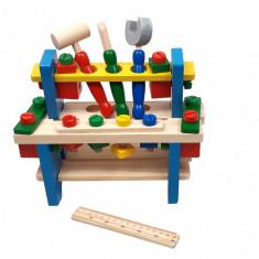 Jucarie multicolora din lemn cu banc, suruburi, cheie, surubelnita si ciocan - D8TAN42