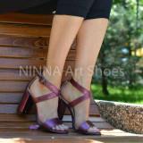 Sandale dama mov-sidef, din piele naturala toc 9cm - NAA61MOVSIDEF