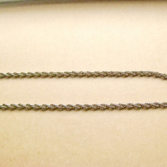 B244- Lant ceas buzunar metal argintiu model snur. Probabil alama argintata.