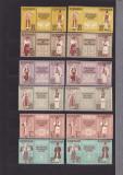 1958  LP 462 a LP 462 e COSTUME NATIONALE TRIPTICURI CU  VINIETE DANT+NEDANT MNH, Nestampilat