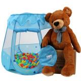 Cort de joaca pentru copii, albastru, cu 100 bile colorate incluse, Unisex, Bleu, Textil