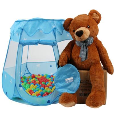 Cort de joaca pentru copii, albastru, cu 100 bile colorate incluse foto