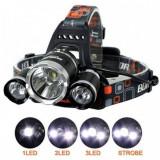 Cumpara ieftin Lanterna De Cap 3 x Led Cree XML T6 Frontala Cu Lupa + 2x Acumulatori