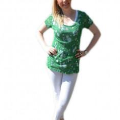 Tricou verde inchis din material tip plasa cu top alb dedesubt
