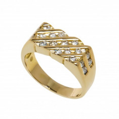 Inel din aur galben 14K cu 20 diamante naturale, circumferinta 59 mm