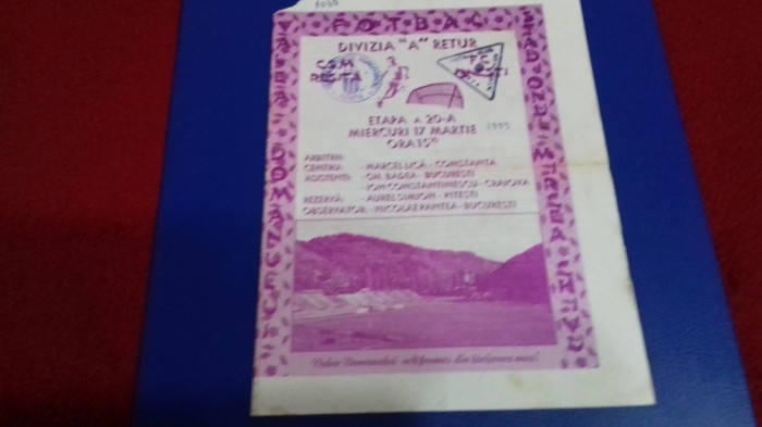 program       CSM Resita  -  FC  Onesti