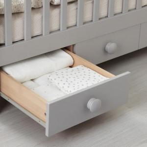 Patut pentru bebelusi, 60 x 120 cm, baza ventilata, Gri