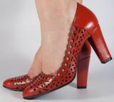 Pantofi eleganti rosii piele naturala (cod 469), 37