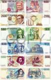REPRODUCERE lot  bancnote Italia seria 1984  ,   Dimensiune reala 1:1, Europa