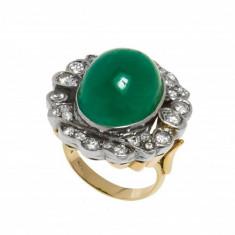 Inel din aur galben 14K cu smarald cabochon si diamante naturale