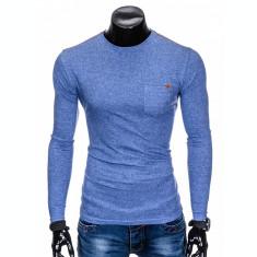 Bluza pentru barbati, din bumbac, albastru, simpla, slim fit - L103