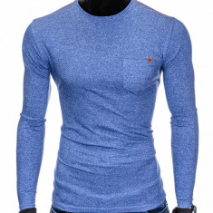 Bluza pentru barbati din bumbac albastru simpla slim fit L103