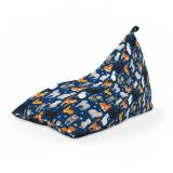 Cumpara ieftin Fotoliu Units Puf (Bean Bag) tip lounge, impermeabil, cu maner, 155 x 83 x 65 cm, pisici fundal albastru