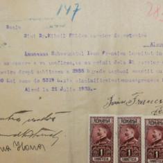 D41 Chitanta 1930 cu timbre fiscale Ferdinand efigia in cerc