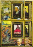 DB1 Pictura Africa Centrala Vincent van Gogh 13 SS + 2 MS 4 poze MS MNH, Nestampilat