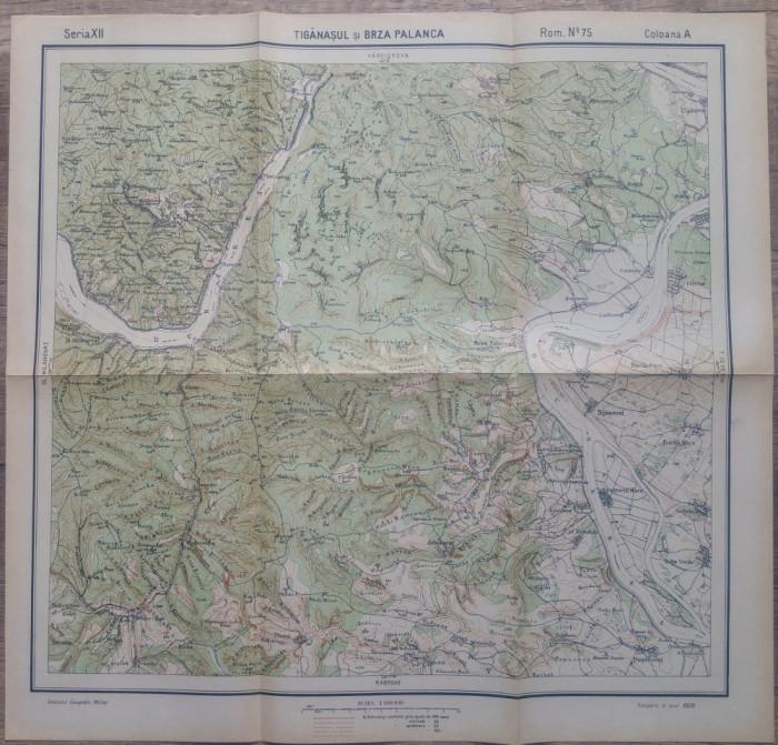 Tiganasul si Brza Palanca/ harta Serviciul Geografic al Armatei 1939