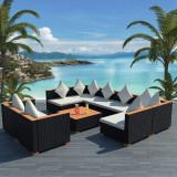 Set mobilier de grădină 27 piese, poliratan, blat WPC, negru