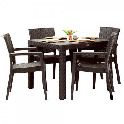 Set exterior INGLESA masa patrata CLASSI RATAN 90x90x75cm 4 scaune PARIS RATTAN polipropilen/fibra sticla culoare cafea B004287-42300-42332 Raki foto
