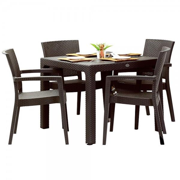 Set exterior INGLESA masa patrata CLASSI RATAN 90x90x75cm 4 scaune PARIS RATTAN polipropilen/fibra sticla culoare cafea B004287-42300-42332 Raki