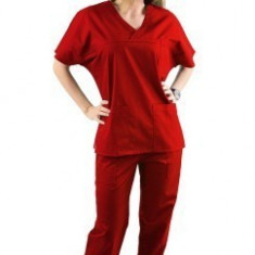 Costum medical rosu – unisex