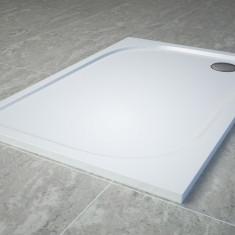 Cadita de dus dreptunghiulara SanSwiss Tracy WAA 80x100cm slim marmura sintetica alb