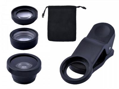 Set Lentile Obiectiv 3-in-1 pentru Foto Telefoane sau Tablete, culoare Negru foto