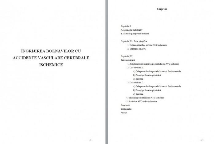 LICENTA AMG – ÎNGRIJIREA BOLNAVILOR CU ACCIDENTE VASCULARE CEREBRALE ISCHEMICE