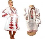 Cumpara ieftin Set traditional Mama Fiu rosu Rochie traditionala si costumas