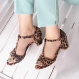 Sandale cu toc dama maro animal print Leopia