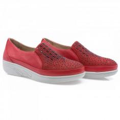 Pantofi dama din piele naturala Caspian Cas-2700-Kirmiz