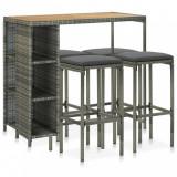 VidaXL Set mobilier bar de grădină cu perne, 5 piese, gri, poliratan