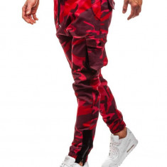 Cumpara ieftin Pantaloni joggers cargo pentru bărbat camuflaj-roșii Bolf 0705
