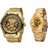 Cumpara ieftin Set ceas barbatesc Forsining + ceas dama Winner, mecanism automatice, bratara din otel inoxidabil de culoare galbena, rezistent la zgarieturi + cutie