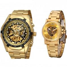 Set ceas barbatesc Forsining + ceas dama Winner, mecanism automatice, bratara din otel inoxidabil de culoare galbena, rezistent la zgarieturi + cutie