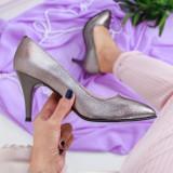 Pantofi Piele Neilina argintii cu toc