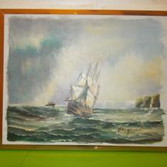 MARINA - superba PICTURA  in ULEI PE PANZA , semnata Langman ,scoala suedeza (2)