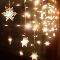 Instalatie Craciun,perdea,fulgi si stele,joc de lumini alb-albastru Autentic HomeTV