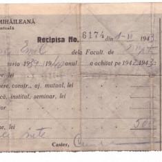 IASI-UNIVERSITATEA MIHAILEANA-RECIPISA,CHITANTA ANII 40