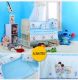 Patut bebe din lemn balansoar cu lenjerie inclusa si baldachin+ Saltea