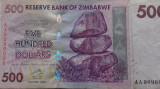 BANCNOTA 500 DOLLARS 2007-ZIMBABWE (AA 909)