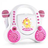Auna Ock de buzunar pentru copii Karaoke Sistem CD AUX 2x microfon autocolant set alb