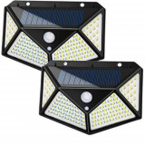 Set 2 lampi cu incarcare solara, cu senzor de amurg, miscare, lumina