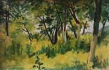 Ion Anestin - Margine de padure , ulei pe carton, Arbori, Altul