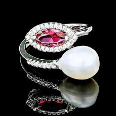Inel din Argint 925 cu Perla Naturala si Diamante, Lara