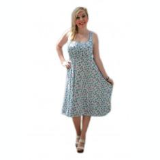 Rochie de zi cu bretele, material racoros cu imprimeu albastru
